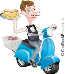 Cartoon Waiter on Scooter Moped Delivering Hotdog