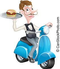 Cartoon Waiter on Scooter Moped Holding Burger