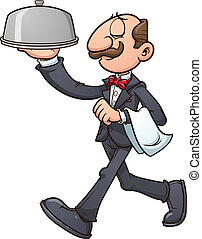 Cartoon waiter. Vector clip art illustration with simple...