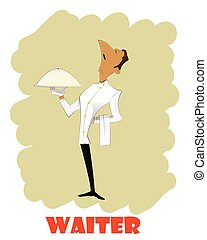 Cartoon waiter vector illustration