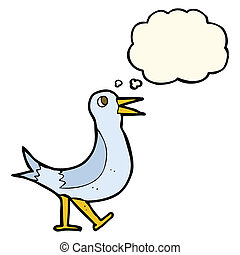 cartoon walking bird with thought bubble