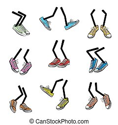 Cartoon walking feet