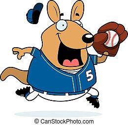 Cartoon Wallaby Baseball