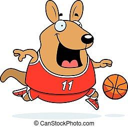 Cartoon Wallaby Basketball