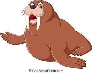 Cartoon walrus - illustration of cute walrus cartoon