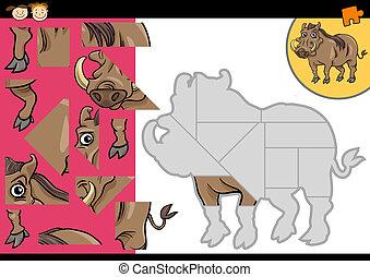 cartoon warthog jigsaw puzzle game