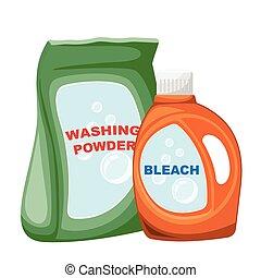 Cartoon washing powder bag and bleach bottle . Vector ...