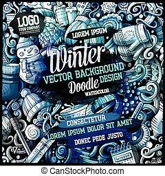Cartoon watercolor hand drawn doodles Winter background design