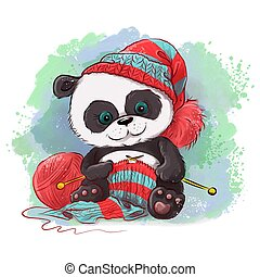 Cartoon watercolor panda knits a scarf. Logo for knitting needlework in the style of hand drawing. Vector illustration