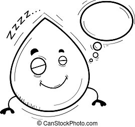 Cartoon Waterdrop Dreaming - A cartoon illustration of a...