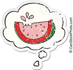 cartoon watermelon and thought bubble as a distressed worn sticker