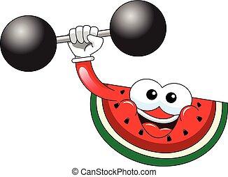 Cartoon watermelon bodybuilder isolated