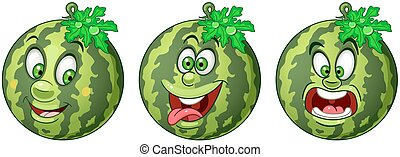 Cartoon Watermelon. Fruit Food Collection