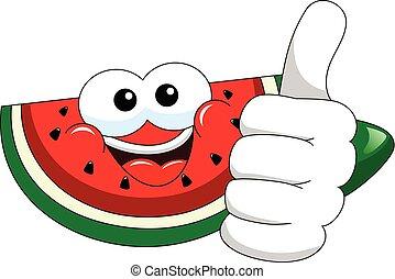 Cartoon watermelon thumb up isolated