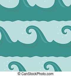 Cartoon waves seamless pattern