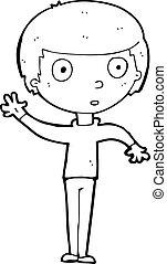 cartoon waving boy