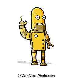 cartoon waving gold robot