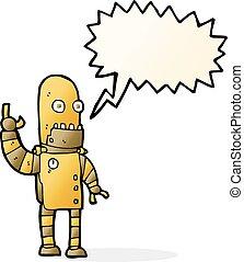 cartoon waving gold robot with speech bubble