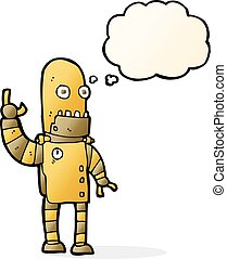 cartoon waving gold robot with thought bubble