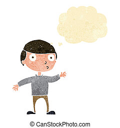 cartoon waving man with thought bubble