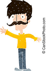 cartoon waving mustache man