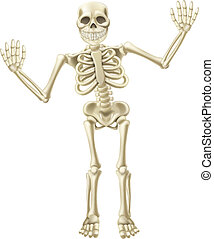 Cartoon Waving Skeleton Character - Drawing of a cute...