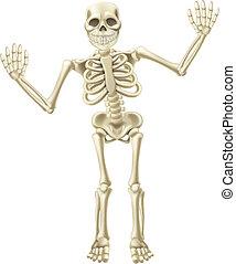 Cartoon Waving Skeleton Character