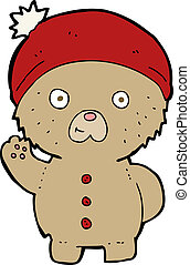 cartoon waving teddy bear in winter hat