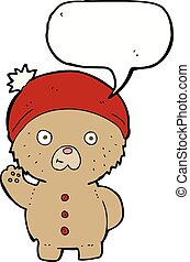 cartoon waving teddy bear in winter hat with speech bubble