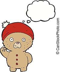 cartoon waving teddy bear in winter hat with thought bubble