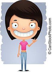 Cartoon Waving Teen Girl