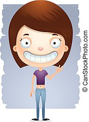 Cartoon Waving Teen Girl