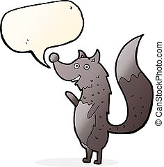 cartoon waving wolf with speech bubble