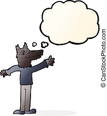cartoon waving wolf with thought bubble