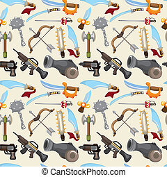 cartoon weapon set seamless pattern