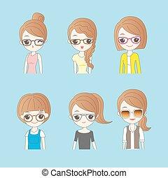 cartoon wear different glasses
