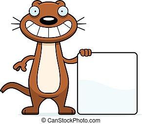 Cartoon Weasel Sign - A cartoon illustration of a weasel...