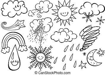 Cartoon Weather Climate Doodles