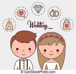 cartoon wedding couple icon