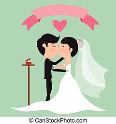 Cartoon wedding couple kissing for postcard, advertising, presentation, logo. vector illustration.