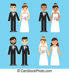 Cartoon wedding couples set - Cute cartoon diverse wedding...