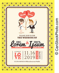 Cartoon Wedding invitation card template
