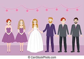 cartoon wedding people on the purple background