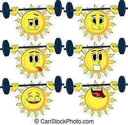 Cartoon weightlifter sun lifting barbell.