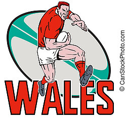 Cartoon Welsh Rugby player - illustration of a Cartoon Welsh...