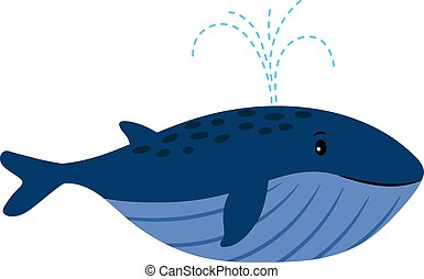 Cartoon Whale. Vector illustration of swimming whale with water fountain blowhole blow or spout spray