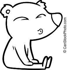 cartoon whistling bear sitting