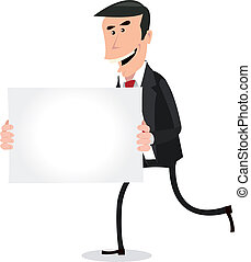 Cartoon White Businessman Running with Blank Sign