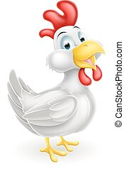 Cartoon White Chicken - A cartoon white cute chicken mascot...