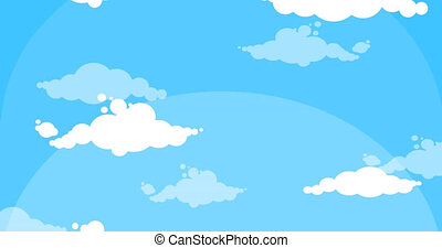 Cartoon white clouds moving up blue sky background loop...